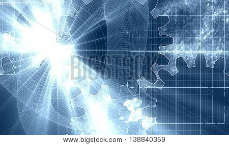 Industry theme relative abstract background concept. Blue print gears backdrop