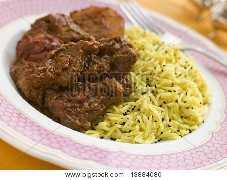 Meat Vindaloo with Pilau Rice