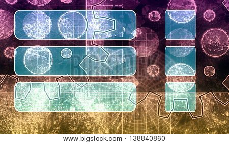 Industry theme relative abstract background concept. Blue print gears backdrop. Gradient painting