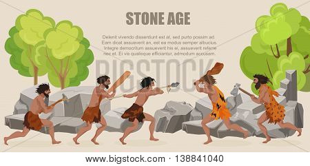 Stone age war primitive men tribes fighting. Barbarian Caveman warrior, ancient man with weapons