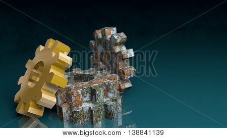 Industry theme relative abstract background concept. Gears set. Rusty and golden. 3D rendering