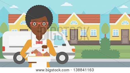 An african-american female baker holding a box of cakes. A baker delivering cakes. Baker with cupcakes standing on the background of delivery truck. Vector flat design illustration. Horizontal layout.