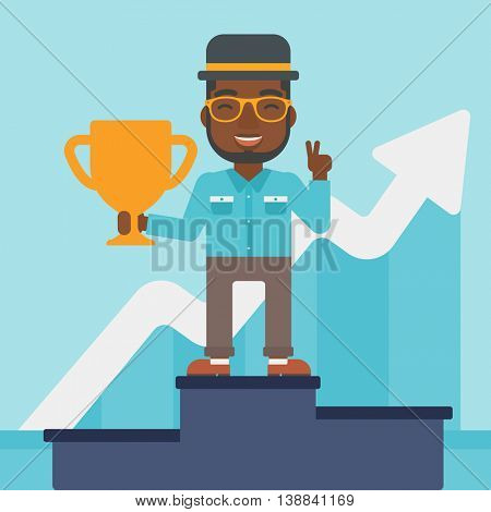 An african-american businessman standing on a pedestal with winner cup. Businessman celebrating his business award. Business award concept. Vector flat design illustration. Square layout.