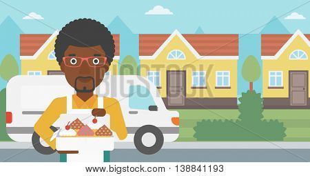 An african-american baker holding a box of cakes. Baker delivering cakes. A baker with cupcakes standing on the background of delivery truck. Vector flat design illustration. Horizontal layout.
