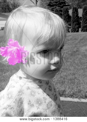 Baby With Flower In Her Hair