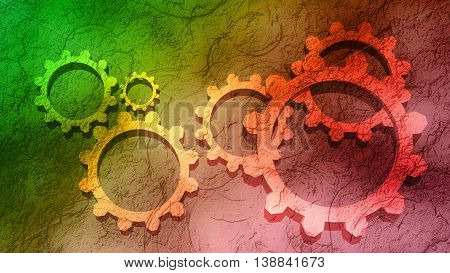 Industry theme relative abstract background concept. Gears on concrete textured backdrop. Gradient painting