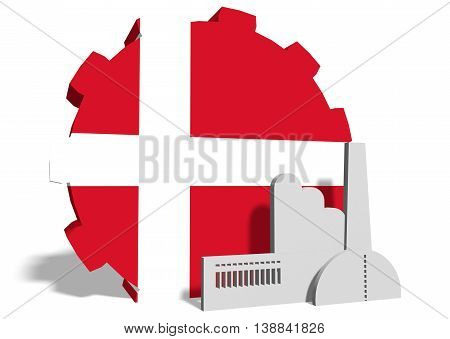 Denmark industry relative concept. Factory icon and gear textured by national flag. 3D rendering