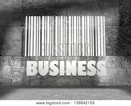 Business word and bar code on concrete wall in empty room. 3D rendering