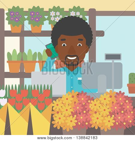 An african-american florist using telephone and laptop to take orders. A florist standing behind the counter at flower shop. Vector flat design illustration. Square layout.