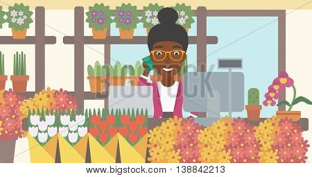 An african-american female florist using telephone and laptop to take orders for flower shop. A florist standing behind the counter at flower shop. Vector flat design illustration. Horizontal layout.