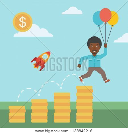 An african-american businessman with balloons flying over gold coins and rocket flying nearby. Business start up concept. Vector flat design illustration. Square layout.