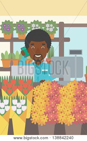 An african-american florist using telephone and laptop to take orders. A florist standing behind the counter at flower shop. Vector flat design illustration. Vertical layout.