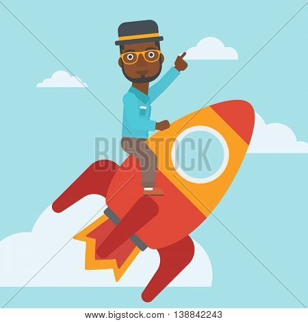 An african-american businessman flying on the business start up rocket and pointing his forefinger up. Successful business start up concept. Vector flat design illustration. Square layout.