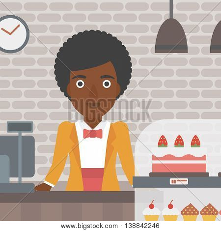 An african-american female bakery worker offering different pastry. A bakery worker standing behind the counter with cakes at the bakery. Vector flat design illustration. Square layout.