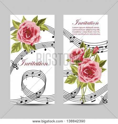 Set of wedding invitation cards design. Beautiful pink roses and music notes on white background. Vector illustration.