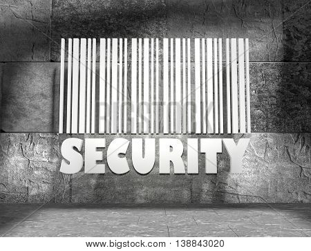 Security word and bar code on concrete wall in empty room. 3D rendering