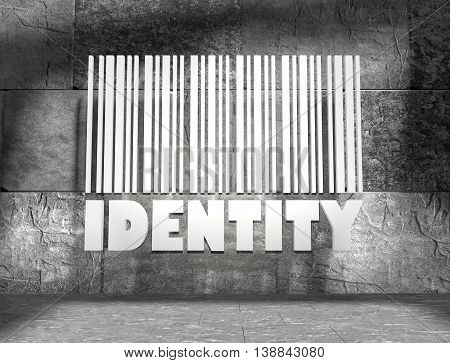 Identity word and bar code on concrete wall in empty room. 3D rendering
