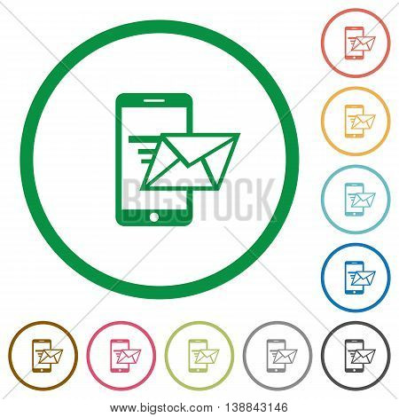 Set of sending email color round outlined flat icons on white background