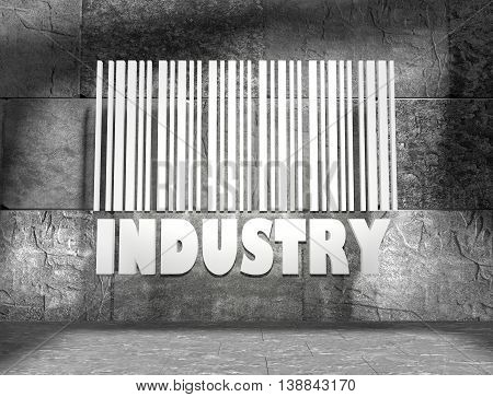 Industry word and bar code on concrete wall in empty room. 3D rendering