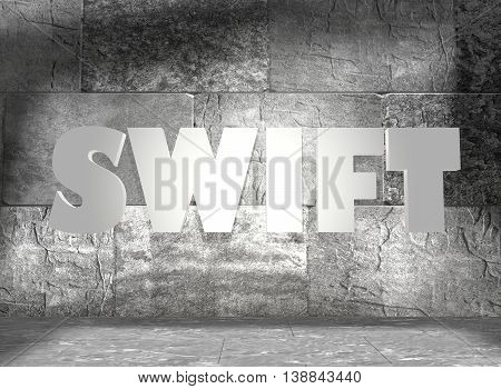 Swift word on concrete wall in empty room. 3D rendering