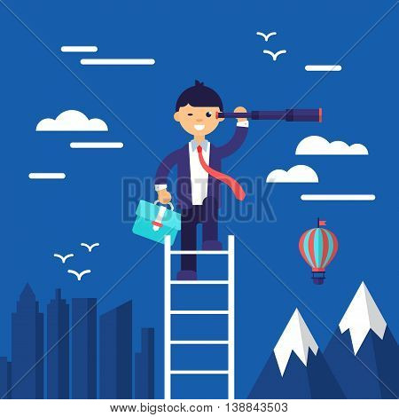 Business Concept Flat Modern Design For Search Of Opportunities. Isolated Vector Illustration