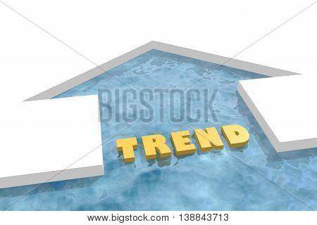 iced arrow in ocean and trend word. Way choosing metaphor. 3D rendering