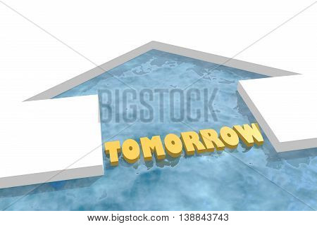 iced arrow in ocean and tomorrow word. Way choosing metaphor. 3D rendering