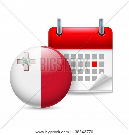 Calendar and round Maltese flag icon. National holiday in Malta