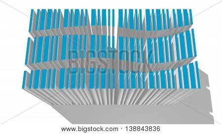 blue bar code divided by wave line with long shadow. 3D rendering