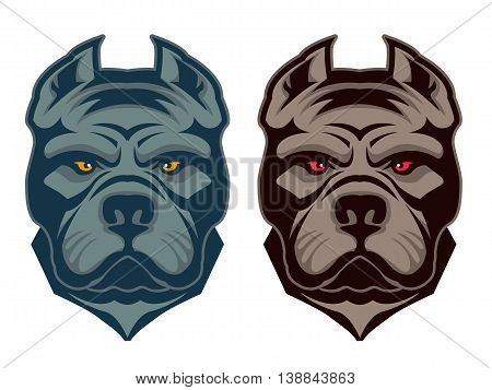 Pit bull mascot. Design element for logo label emblem sign badge. Vector illustration.