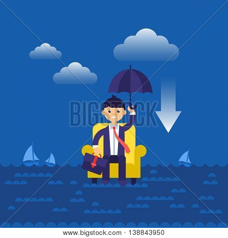 Business Concept Flat Modern Design For Businessman In Armchair Lost In Sea.  Isolated Vector Illust