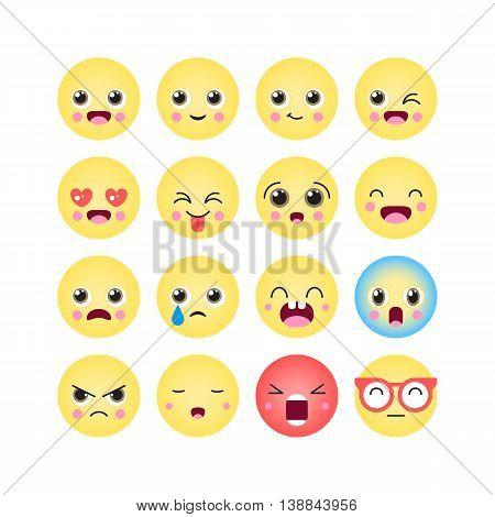 Emoticons, Emoji Kawaii Icon Set. Isolated Vector Illustration