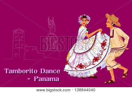 Vector design of Couple performing Tamborito dance of Panama