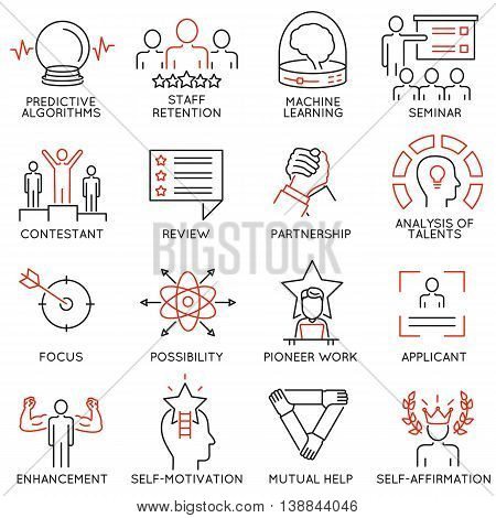 Vector set of 16 linear thin icons related to striving for success leadership development career progress and personal training. Mono line pictograms and infographics design elements - part 3