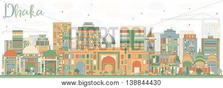 Abstract Dhaka Skyline with Color Buildings. Business Travel and Tourism Concept with Historic Buildings. Image for Presentation Banner Placard and Web Site.