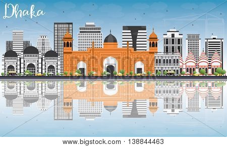 Dhaka Skyline with Gray Buildings, Blue Sky and Reflections. Business Travel and Tourism Concept with Historic Buildings. Image for Presentation Banner Placard and Web Site.