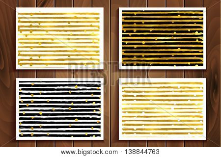 Set Of Seamless Golden Stripes