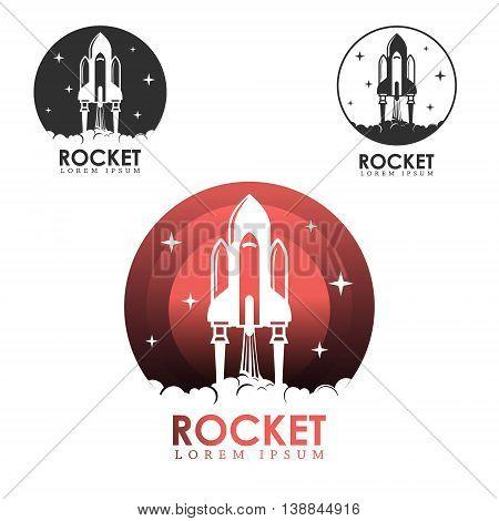 Rocket launch. Design element for logo label emblem sign. Vector illustration.
