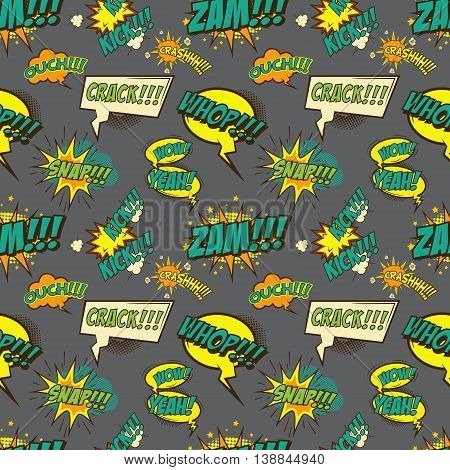 Seamless pattern with comic style phrases. Vector illustration.
