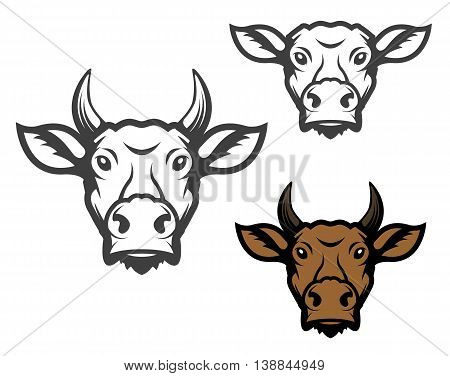 Set of cow heads. Design element for logo label emblem sign. Vector illustration.