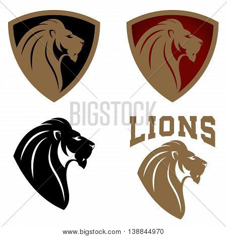 Set of emblems templates with lion head. Design element for logo label emblem sign badge. Vector illustration.