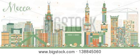 Abstract Mecca Skyline with Color Landmarks. Travel and Tourism Concept with Historic Buildings. Image for Presentation Banner Placard and Web Site.