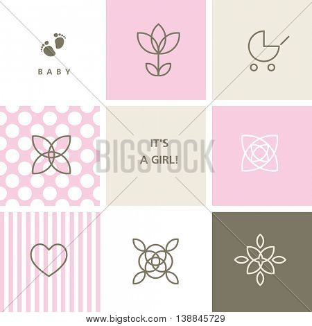 Vector baby shower design elements for baby shower cards, baby arrival card