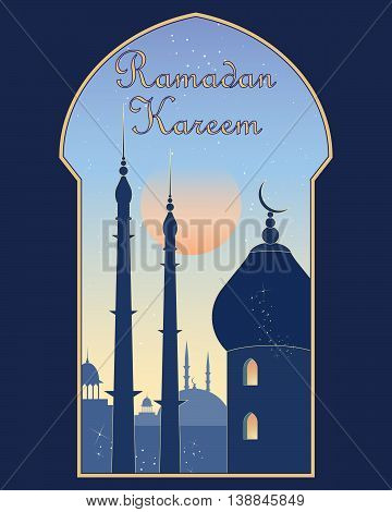 an illustration of a holy ramadan greeting card with an islamic window looking over a city with mosque and minarets at sunrise