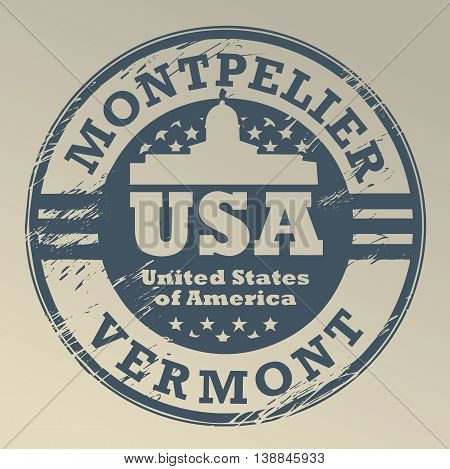 Grunge rubber stamp with name of Vermont, Montpelier, vector illustration