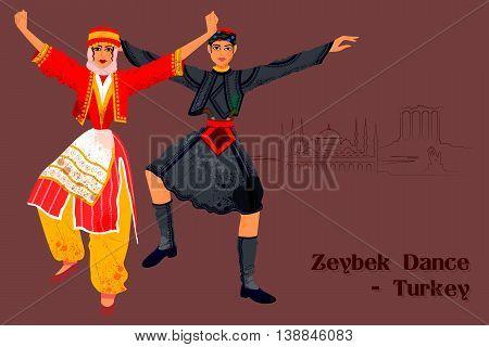 Vector design of Couple performing Zeybek dance of Turkey