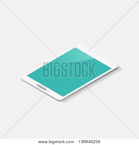 white tablets with blue screens. Mockup isolated on white