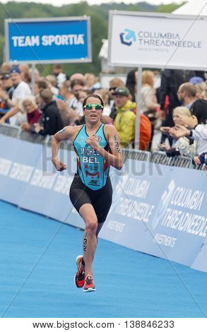 STOCKHOLM - JUL 02 2016: Triathlete Claire Michel (BEL) running at the finish in the Women's ITU World Triathlon series event July 02 2016 in Stockholm Sweden