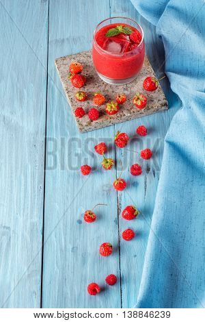 berry smoothie of strawberries and raspberries top view