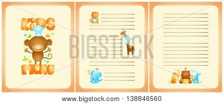 Funny kids menu list design with front page and pages for dishes, with cute cartoon animals